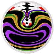 First Move Abstract Round Beach Towel