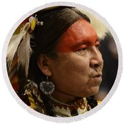 Pow Wow First Nations Man Portrait 1 Round Beach Towel