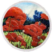 First Of Poppies Round Beach Towel