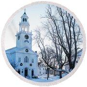 First Parish Church Manchester Ma North Winter Snow Round Beach Towel