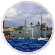 First Peak At Australia's Newest Warship Round Beach Towel