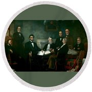 First Reading Of The Emancipation Proclamation Of President Lincoln Round Beach Towel