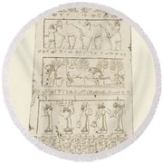First Side Of Obelisk, Illustration From Monuments Of Nineveh Round Beach Towel