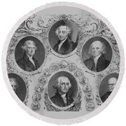 First Six U.s. Presidents Round Beach Towel by War Is Hell Store