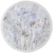 First Snow In The Field Round Beach Towel