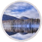 First Snow On West Lake Round Beach Towel