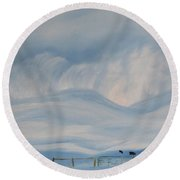 First Snow Storm Madison County 2015 Round Beach Towel