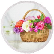 First Spring Garden Roses Round Beach Towel