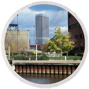 First Star Tall View From River Round Beach Towel