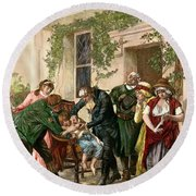 First Vaccination, 1796 Round Beach Towel
