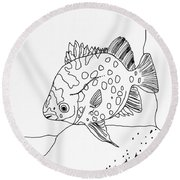 Fish And Rock Round Beach Towel