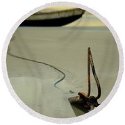 Fish Boat And Anchor On Low Tide  Round Beach Towel