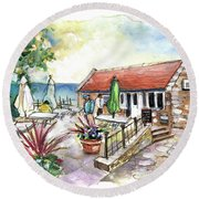 Fish Box In Robin Hoods Bay  Round Beach Towel