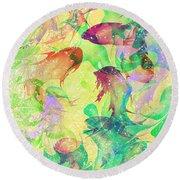 Fish Dreams Round Beach Towel by Rachel Christine Nowicki