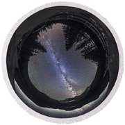Fish-eye Lens Panorama Of Milky Way Round Beach Towel