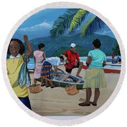 Fish For Supper Round Beach Towel