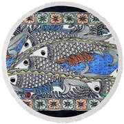 Fish Group Round Beach Towel