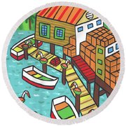 Fish House-cedar Key Round Beach Towel