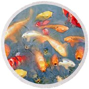 Fish In A Lake Round Beach Towel