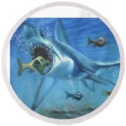 Fish In Action Round Beach Towel