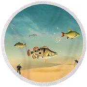 Fish Life  Round Beach Towel