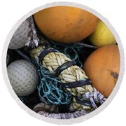 Fish Netting And Floats 0129 Round Beach Towel