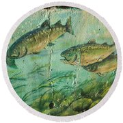 Fish On The Wall 2 Round Beach Towel
