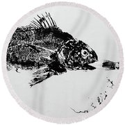 Fish Print On Butcher Paper Round Beach Towel