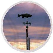 Fish Weather Vane At Sunset Round Beach Towel