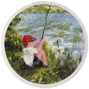 Fisher Boy Round Beach Towel