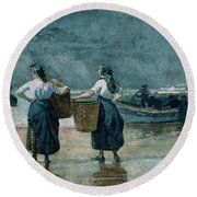 Fisher Girls By The Sea Round Beach Towel by Winslow Homer