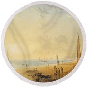 Fisherfolk On The Shore Near Dover At Sunset Round Beach Towel