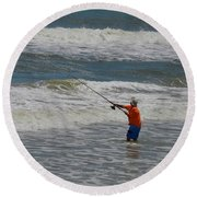 Fisherman And The Sea Round Beach Towel