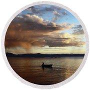 Fisherman At Sunset On Lake Titicaca Round Beach Towel