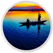 Fisherman Boat On Summer Sunset, Travel Photo Poster Round Beach Towel