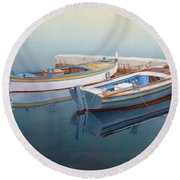 Coastal Wall Art, Fisherman In A Calm, Fishing Boat Paintings Round Beach Towel