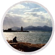 Fisherman In Nice France Round Beach Towel
