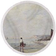 Fisherman In Villerville Round Beach Towel