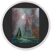 Fisherman Under Full Moon Round Beach Towel