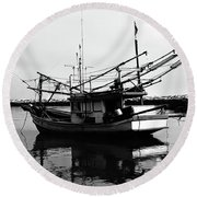 Fisherman's Boat Round Beach Towel