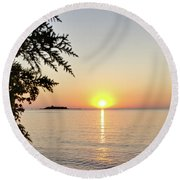 Fisherman's Island Sunset Round Beach Towel