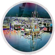 Fishermans Terminal 3 Round Beach Towel