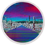 Fishermans Terminal Pier Round Beach Towel