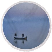 Fishermen At Dawn Round Beach Towel