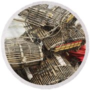 Fishermen Bamboo Crab Cages At Kep Market Cambodia Round Beach Towel