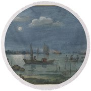 Fishermen By Moonlight Round Beach Towel