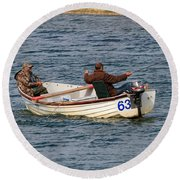 Fishermen In A Boat Round Beach Towel