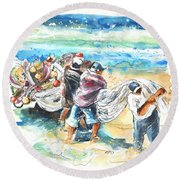 Fishermen In Praia De Mira Round Beach Towel