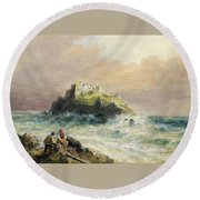 Fishermen On The Rocks Before A Castle Round Beach Towel