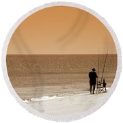 Fishermen Relax Round Beach Towel